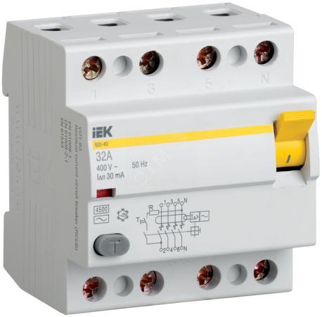 Выключатель дифференциального тока ИЭК 4п 32А/30мА УЗО MDV10-4-032-030 выключатель дифференциального тока узо schneider electric 4п 40а 30ма тип ac iid k acti9 sche a9r50440