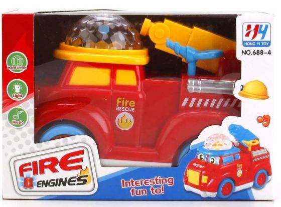 Пожарная машина Shantou Gepai МАШИНА НА БАТ. СВЕТ+ЗВУК, 688-4 красный play smart танцующая машина на ру свет звук 24х18х18смр41089