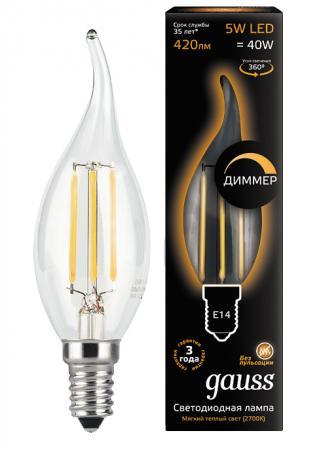 Лампа светодиодная диммируемая филаментная E14 5W 2700К прозрачная 104801105-D цена 2017