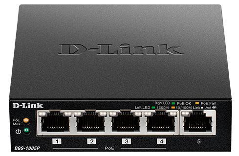 Коммутатор D-Link DGS-1005P/A1A 5G 1PoE 15.4W неуправляемый