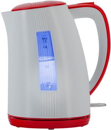 Чайник электрический Polaris PWK 1790СL 2200 Вт белый красный 1.7 л пластик цена и фото