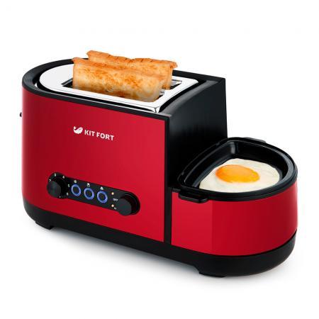лучшая цена 2012-2-KT Тостер «3 в 1» Kitfort .Мощность: 1000-1300 Вт.Ёмкость: 2 тоста одновременно.Красный