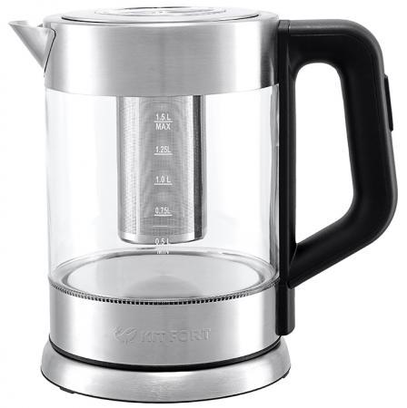 Чайник KITFORT КТ-623 2200 Вт серебристый 1.5 л металл/стекло чайник kitfort кт 628 2200 вт прозрачный 1 7 л металл стекло