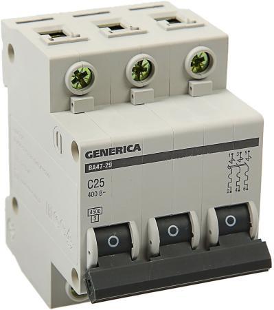 Iek MVA25-3-025-C Авт. выкл. ВА47-29 3Р 25А 4,5кА х-ка С GENERICA автоматический выключатель ва47 29 3р 50 а 4 5 ка в tdm sq0206 0047