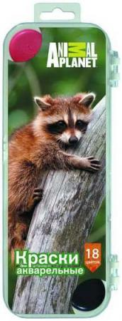 Акварель медовая ANIMAL PLANET, 18цв., пл. коробка, европодвес, без кисти. акварель медовая hello kitty 18цв без кисти