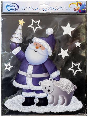 Наклейка Winter Wings Дед Мороз с мишкой 28x34 см наклейка