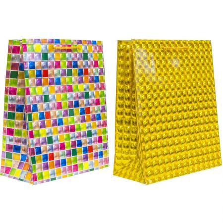 Пакет подарочный бумажный 3D голография, 26*32*12 см, 2 цвета