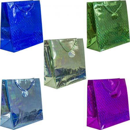 Пакет подарочный голография, 38*38*16 см, бумага, 5 цветов пакет подарочный winter wings голография 12х36х10 см