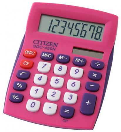 Калькулятор настольный Citizen SDC-450NPK-CFS 8-разрядный розовый калькулятор citizen sdc 888xwh 12 разрядный белый