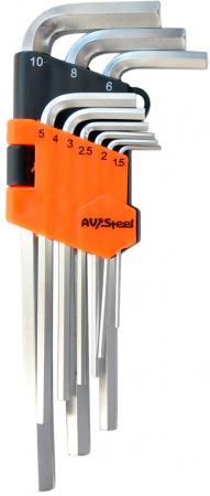 Набор ключей AVSTEEL AV-362109 шестигранных удлиненных 9 предм. набор шестигранных ключей jonnesway h01sm109s