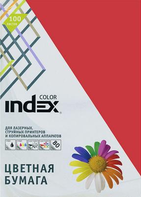 Бумага цветная Index Color, 80гр, А4, темно-красный (29), 100л бумага цветная kaskad 80гр а4 светло желтый 55 500л