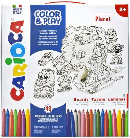 Набор для рисования CARIOCA COLOR&PLAY, Planet, 52 предмета carioca набор смываемых восковых карандашей baby 8 цветов