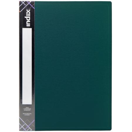 Папка с 60 файлами SATIN, форзац, ф.A4, 0,7мм, темно-зеленая