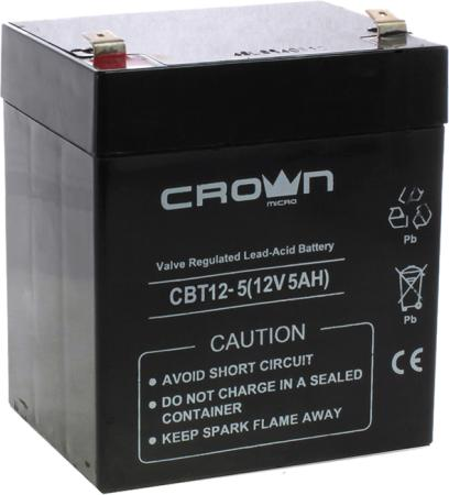 CROWN Battery voltage 12V, capacity 5 A / W, dimensions (mm) 88x68x100, weight 1.8 kg, the type of terminal - F1, battery Lead-acid with suspended electrolyte gel, service life 6 years