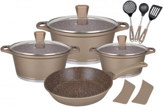купить 1310-WR Набор посуды WINNER GOLD ALMOND 12 пр. Состав: литой алюминий, нейлон. дешево