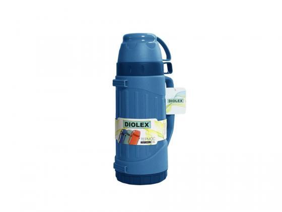 600DXP-B Термос Diolex пластиковый со стеклянной колбой 600 мл (синий)