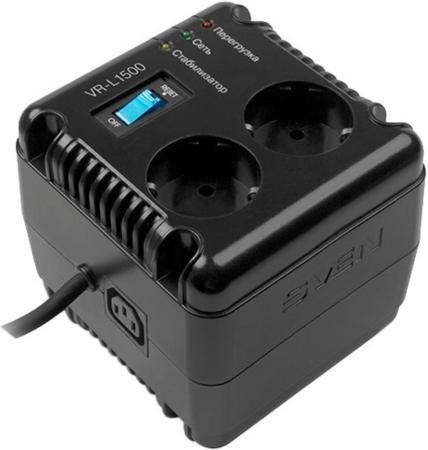 Stabilizer SVEN VR-L1500, Relay, 500W, 184-285v, 2 euro outlets, 1 розетка ІЕС 320, black, 124 ? 119 ? 124mm, 2.09kg.