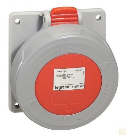 Розетка встр. 16А 3К+H+З 380В IP67 кабельная розетка ip67 16а 3р ре n 380в tdm sq0611 0026