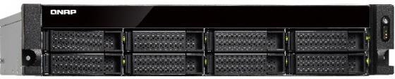 SMB QNAP TS-863XU-RP-4G NAS, 8-tray w/o HDD, Quad-core 64-bit AMD 2.0GHz, 4GB DDR3L (1x4GB ) up to 16GB (2x8GB ),1x 10G LAN RJ45, 4x1GbE LAN, 2U Rackmount, 2x250W PSU. W/o rail kit RAIL-B02