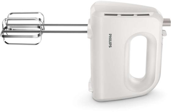 Миксер Philips/ 300 Вт, 5 скоростей + турборежим, венчик, крючки, белый цена и фото