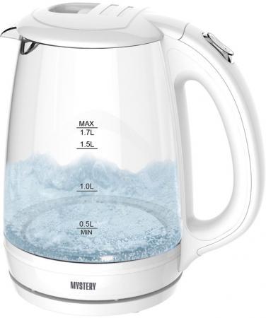 купить Чайник MYSTERY MEK-1642, 1,7л.. 1800Вт, стекло, черный по цене 880 рублей