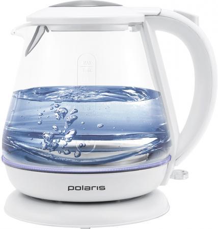 Чайник электрический Polaris PWK 1859CGL 1.8л. 2200Вт белый (корпус: стекло) чайник электрический polaris pwk 1859cgl 1 8л 2200вт белый корпус стекло