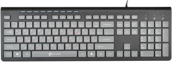 лучшая цена Клавиатура Oklick 480M черный/серый USB slim Multimedia