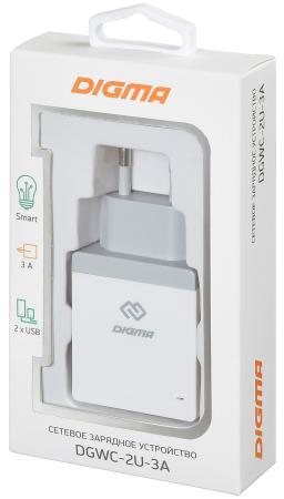 Сетевое зарядное устройство Digma DGWC-2U-3A-WG 3 А белый зарядное