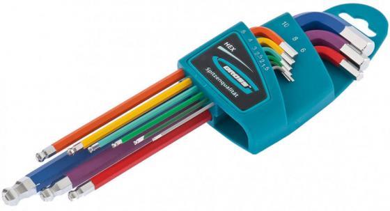 Набор ключей GROSS 16400 имбусовых hex 1.5–10мм s2 9шт магнит экстра-длин. с шаром хром/краска