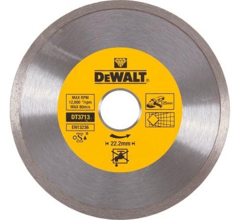 Диск алм. DeWALT DT3713-QZ со сплошной кромкой по керамике, 125x22.2x1.6мм диск алм dewalt dt3714 qz dewalt® для плиткореза dwc410 110x20x1 6мм
