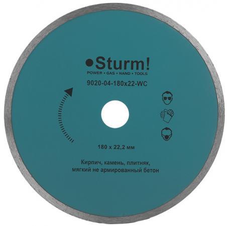 Круг алмазный STURM! 9020-04-180x22-WC влажная резка непрерывный 180мм круг отрезной sturm 9020 07 230x25
