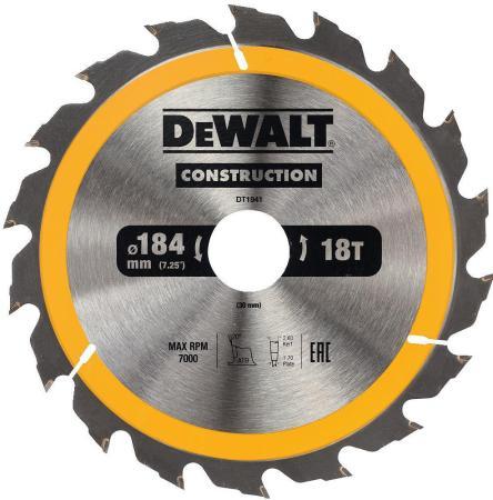 Фото - Пильный диск DEWALT DT1941-QZ CONSTRUCTION п/дер. с гвоздями 184/30 18 ATB +20° пильный диск dewalt dt90249 construction 254 30 40t atb7 dt90249 qz