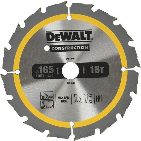цены Пильный диск DEWALT DT1948-QZ CONSTRUCTION п/дер. с гвоздями 165/20 16 ATB +24°