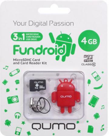 Купить Карта памяти Micro SDHS 4GB class 10 Qumo + USB картридер FUNDROID красный