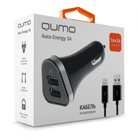 Фото - Автомобильное зарядное устройство QUMO Auto Energy 2А/1А 8-pin Lightning черный 20737 автомобильное зарядное устройство qumo 3 0a 2xusb 1a 2a кабель apple lightning в комплекте черный 20737