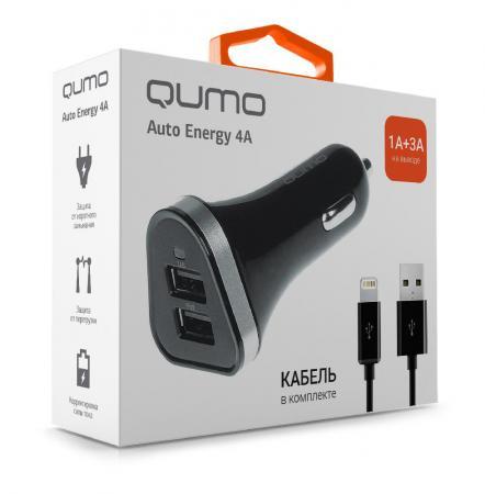 Фото - Автомобильное зарядное устройство QUMO Auto Energy 1A/3A 8-pin Lightning черный 20738 автомобильное зарядное устройство qumo 3 0a 2xusb 1a 2a кабель apple lightning в комплекте черный 20737
