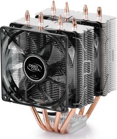 Кулер DEEPCOOL FROSTWIN LED LGA2011-v3/LGA1366/LGA115X/AM4/AM3/+/AM2/+/FM2/+/FM1 (8шт/кор, 130W, PWM, Blue LED DUAL FAN, DUAL Heatsink, 4 Heatpipe) RET вентилятор deepcool tf120 red 120x120x26мм pwm 36шт кор эластичная рамка супертихий красная led подсветка fluid dynamic bearing retail box