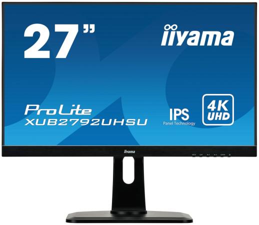 Монитор 27 iiYama XUB2792UHSU-B1 черный IPS 3840x2160 300 cd/m^2 4 ms DVI HDMI DisplayPort Аудио USB монитор 27 asus rog swift pg27uq черный ips 3840x2160 600 cd m^2 4 ms hdmi displayport аудио usb 90lm03a0 b01370
