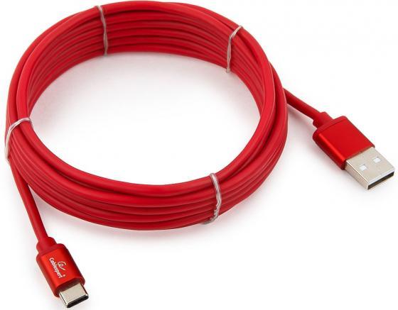 Кабель Type-C 3м Gembird CC-S-USBC01R-3M круглый красный кабель gembird cc dpm dvim 3m