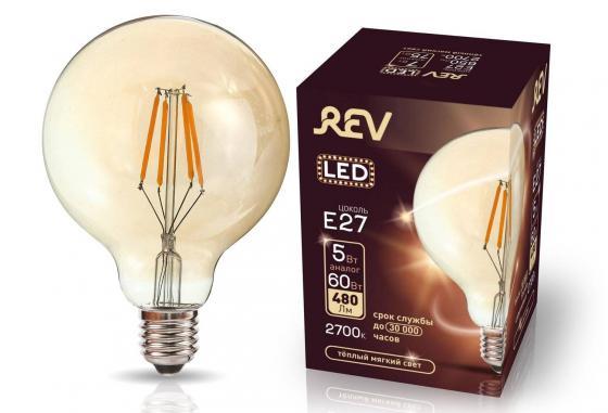 Лампа светодиодная REV RITTER 32433 1 filament vintage шар g95 e27 5w 2700k deco premium теплый лампа светодиодная rev deco premium filament g45 32485 0 холодный свет цоколь e27 7 вт