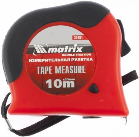 Рулетка MATRIX 31061 double fixation 10мх25мм обрезиненный корпус двойная плавная фиксация