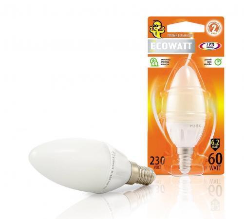 Фото - Лампа светодиод. ECOWATT B35 230В 6.2(60)W 2700K E14 (миньон) теплый белый свет свеча лампа энергосберегающая ecowatt sp 15w 840 e27