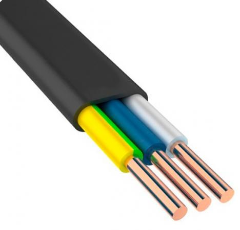 Кабель силовой ВВГ-Пнг (А) Калужский кабельный завод 3x6 мм плоский 100м черный (N, PE) ГОСТ кабель севкабель nym 3х2 5ок n pe 100м