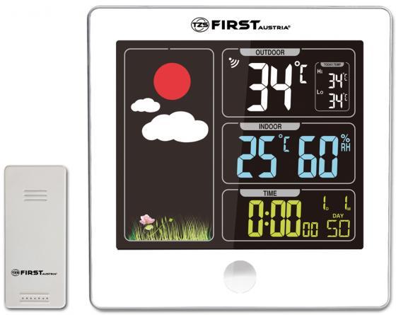 лучшая цена 2460-5-WI Метеостанция FIRST, цветной LED-диспл., беспроводной датчик, измерение уличной/комнатной т
