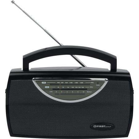 1904-BA Радиоприемник FIRST AM/FM, выходы AUX/наушники, AC/DC, Моно.Ручка для переноски.Black