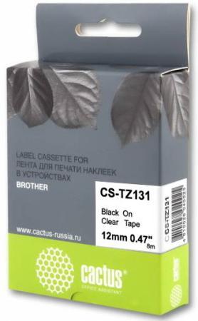 Фото - Картридж ленточный Cactus CS-TZ131 черный для Brother 1010/1280/1830VP/7600VP лента cactus cs tz241 для принтеров brother p touch 1010 1280 1280vp 2700vp черный на белом 18ммх8м