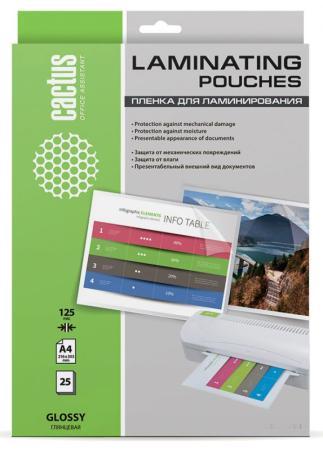 Пленка для ламинирования Cactus 125мкм A4 (25шт) глянцевая 216x303мм CS-LPGA412525 пленка