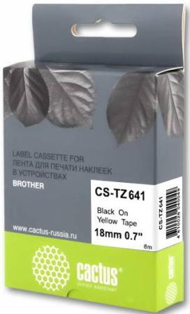 Фото - Картридж ленточный Cactus CS-TZ641 черный для Brother 1010/1280/1280VP/2700VP лента cactus cs tz241 для принтеров brother p touch 1010 1280 1280vp 2700vp черный на белом 18ммх8м
