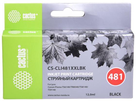 Фото - Картридж струйный Cactus CS-CLI481XXLBK черный (12мл) для Canon Pixma TR7540/TR8540/TS6140/TS8140 t2 cli 481y xxl картридж ic ccli 481y xxl canon pixma ts6140 704 8140 8240 9140 9540 9541c tr7540 8540 желтый с чипом