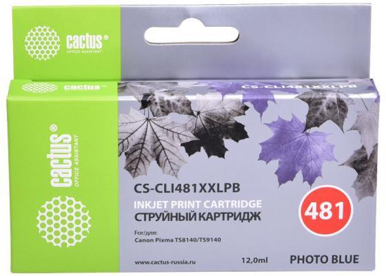 Фото - Картридж струйный Cactus CS-CLI481XXLPB фото голубой (12мл) для Canon Pixma TS8140/TS9140 картридж canon cli 481 pb для canon pixma ts8140ts ts9140 фото голубой 2102c001